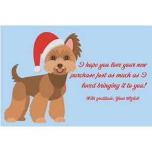 20 4x6 Festive puppies Thank you cards